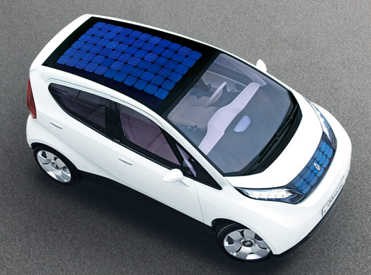 car powered by solar panels