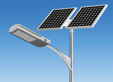 A street light powered by solar panels